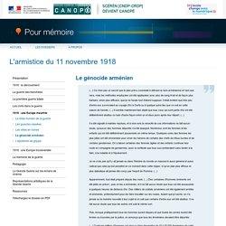 Le génocide arméniendu dossier «L'armistice du 11 novembre 1918»-Pour mémoire-CNDP