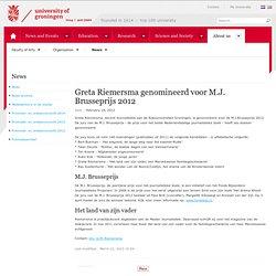 Greta Riemersma genomineerd voor M.J. Brusseprijs 2012 < Home Let < Rijksuniversiteit Groningen