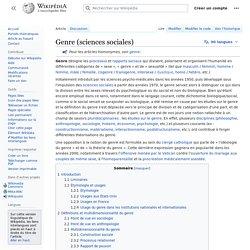 Le genre définition wikipédia