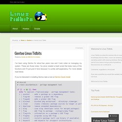 Gentoo Linux Tidbits « Helpful Linux Tidbits