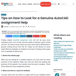 Tips on How to Look for a Genuine AutoCAD assignment Help
