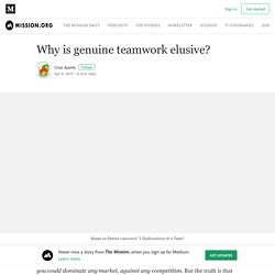 Why is genuine teamwork elusive? – The Mission