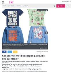 Genuskritik mot budskapen på H&M:s nya barntröjor