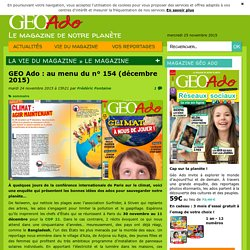 GEO Ado : au menu du n° 154 (décembre 2015)