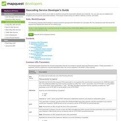 Geocoding Web Service - MapQuest Platform