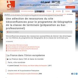 Une sélection de ressources du site Géoconfluences pour le programme de Géographie de la classe de terminale (préparation au bac professionnel)