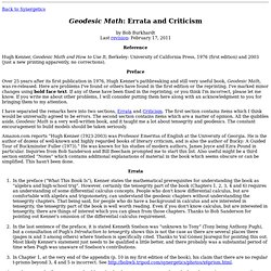 Geodésica matemática: Errata y Crítica
