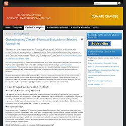 Geoengineering Climate: Technical Evaluation of Selected Approaches » Climate Change at the National Academies of Sciences, Engineering, and Medicine