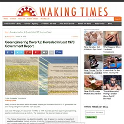 Geoengineering Cover Up Revealed in Lost 1978 Government Report