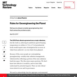 Rules for Geoengineering the Planet - MIT Technology Review