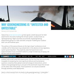 "Why Geoengineering is ""Untested and Untestable"""