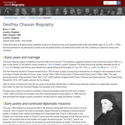 Geoffrey Chaucer Biography - life, death, wife, school, young, book, information, born, house, marriage