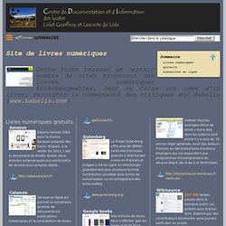 Site du CDI des lycées Lislet Geoffroy et Leconte de Lisle - île de la Réunion : Site de livres numériques