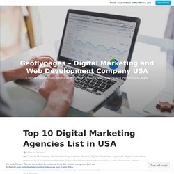 Top 10 Digital Marketing Agencies List in USA – Geoflypages – Digital Marketing and Web Development Company USA