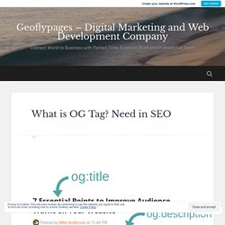What is OG Tag? Need in SEO – Geoflypages – Digital Marketing and Web Development Company