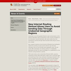 New Internet Routing Method Allows Users to Avoid Sending Data Through Undesired Geographic Regions