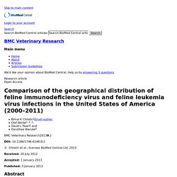 BMC VETERINARY RESEARCH 05/01/13 Comparison of the geographical distribution of feline immunodeficiency virus and feline leukemia virus infections in the United States of America (2000–2011)