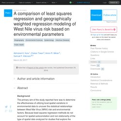 PEERJ 28/03/17 A comparison of least squares regression and geographically weighted regression modeling of West Nile virus risk based on environmental parameters