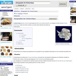 Géographie de l'Antarctique : définition de Géographie de l'Antarctique et synonymes de Géographie de l'Antarctique (français)