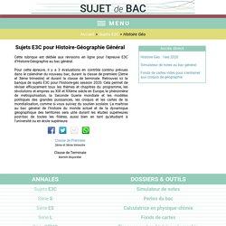 Sujets E3C Histoire-Géographie Général au baccalauréat