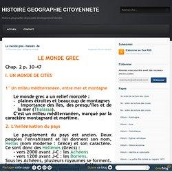 Le monde grec - histoire - 6e - HISTOIRE GEOGRAPHIE CITOYENNETE