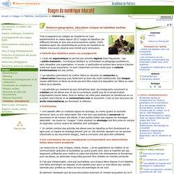Histoire-géographie, éducation civique et tablettes tactiles- Usages du numérique éducatif