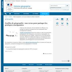 Feuilles de géographie : une revue pour partager les pratiques enseignantes -Histoire-géographie-Éduscol
