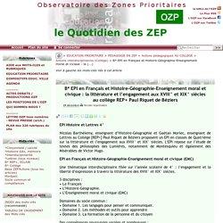 EPI en Français et Histoire-Géographie-Enseignement moral et civique : la(...)