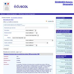 EDU'bases Histoire-Géographie - Formulaire de recherche et résultats pour :