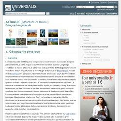 Géographie générale - AFRIQUE, Géographie physique