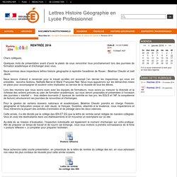 Lettres Histoire Géographie en Lycée Professionnel - Rentrée 2014