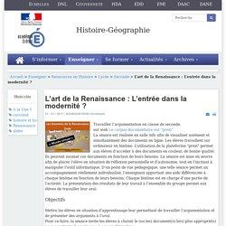 Histoire-géographie - L'art de la Renaissance : L'entrée dans la modernité ?
