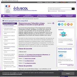 Histoire-géographie-éducation civique-ECJS - Ressources pour l'ECJS au lycée général