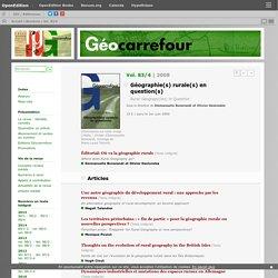 2008 Géographie(s) rurale(s) en question(s)