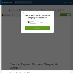 Genre et Espace : Vers une Géographie Sociale ?