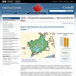 Série « Perspective géographique », Recensement de 2011 - Région métropolitaine de recensement de Montréal, Quebec