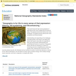 National Geography Standard Index - National Geographic Education
