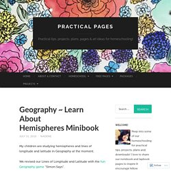 Geography ~ Learn About Hemispheres Minibook