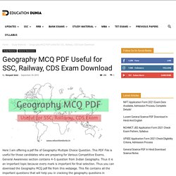 Geography MCQ PDF Useful For SSC, Railway, CDS Exam Download