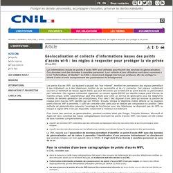 Géolocalisation et collecte d'informations issues des points d'accès wi-fi : les règles à respecter pour protéger la vie privée