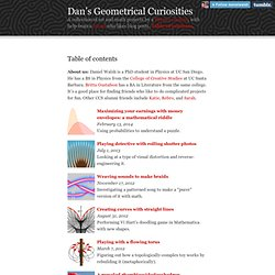 Dan's Geometrical Curiosities - Table of contents