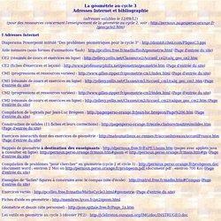 La géométrie au cycle 3 (Adresses Internet et bibliographie)
