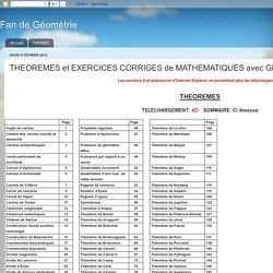 Fan de Géométrie: THEOREMES et EXERCICES CORRIGES de MATHEMATIQUES avec GEOPLAN