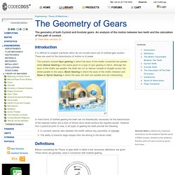 The Geometry of Gears - Theory Of Machines - Engineering Reference with Worked Examples