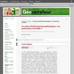 Les sites d'intérêt géomorphologique: un patrimoine invisible?