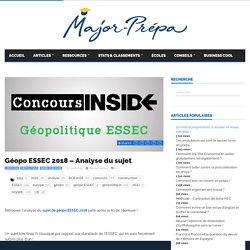 Géopo ESSEC 2018 - Analyse du sujet - Major-Prépa