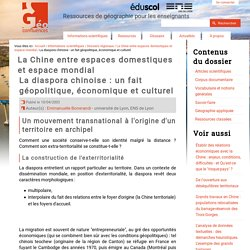 La diaspora chinoise : un fait géopolitique, économique et culturel