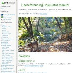 Georeferencing Calculator Manual