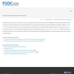 Geospatial Metadata Standards — Federal Geographic Data Committee