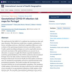 International Journal of Health Geographics 06/07/20 Geostatistical COVID-19 infection risk maps for Portugal